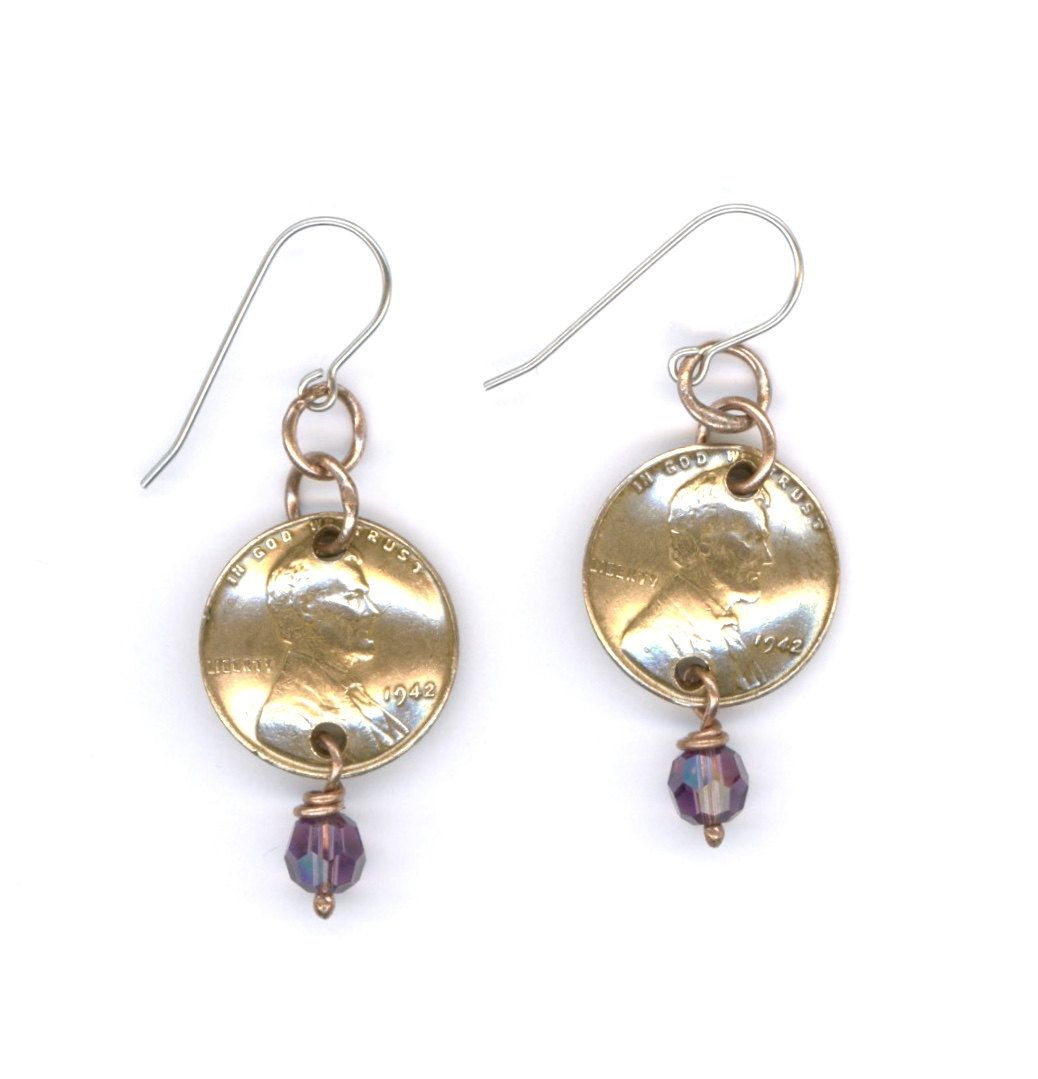 February Birthstone 1942 Penny Earrings 75th Birthday Gift Ideas Swarovski Crystal Amethyst Faceted Beads Coin