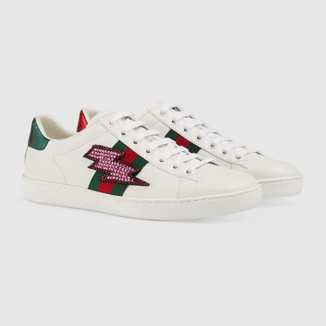 40e6acf1cea Gucci Ace Lightning Bolt Embroidered Low-Top Sneaker