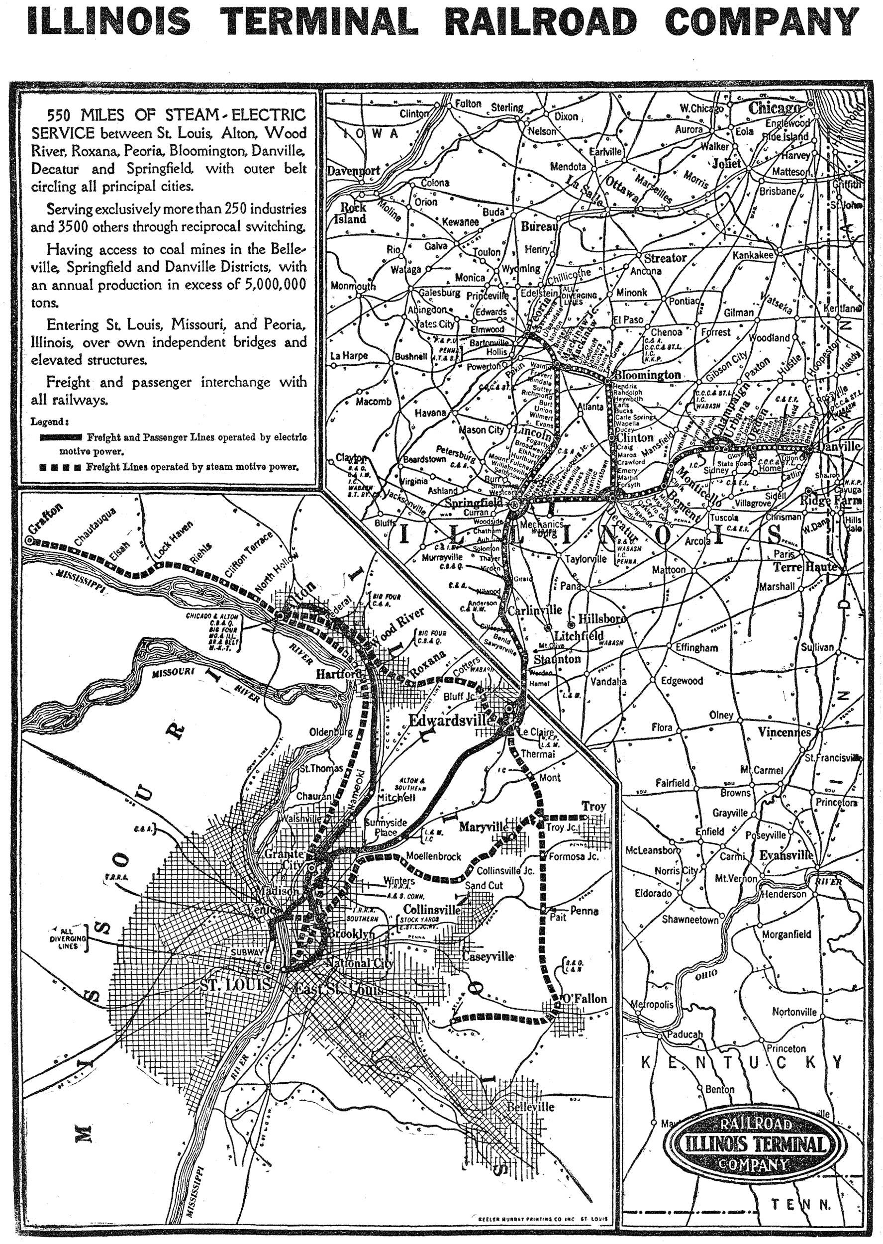 Illinois Terminal Railroad Map | Train map, Illinois, Map on baltimore and ohio railroad, norfolk southern railway, illinois mining map, illinois river map, csx transportation, illinois terminal 2301, grand trunk western railroad, illinois michigan canal trail map, canadian national railway company, lehigh valley railroad, illinois high speed rail map, southern railway, central illinois map, great northern railway, union pacific railroad, atchison, topeka and santa fe railway, illinois pennsylvania map, city of new orleans, soo line railroad, chicago, rock island and pacific railroad, northbrook mall map, burlington northern railroad, illinois western railroad, mississippi rail map, illinois city boundary map, illinois america map, illinois train map, old chicago downtown map, kansas city southern railway, dwight nd map, louisville and nashville railroad, city of miami, illinois county map, illinois central railroad, new york central railroad, illinois highway map, illinois map marion il, southern pacific railroad, pennsylvania railroad, air force bases in illinois map,