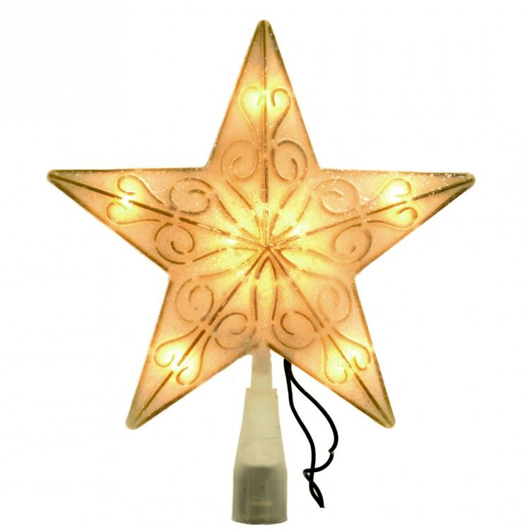 This Star Tree Topper is lightly speckled with glitter, which makes it seem like it has been snowed on!