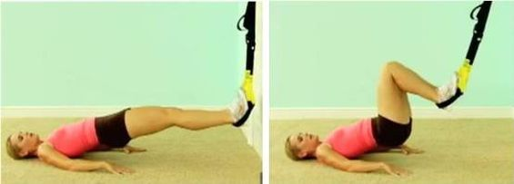TRX knee to chest lifts| Facing the door put one foot inside of each handle & TRX knee to chest lifts| Facing the door put one foot inside of each ...