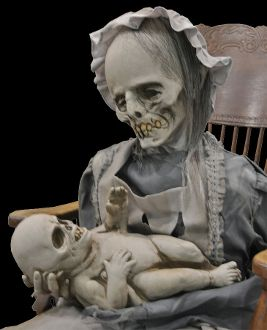 lullaby animated prop creepy gothic horror halloween decoration ghostly mom and child rocks back and - Terrifying Halloween Decorations