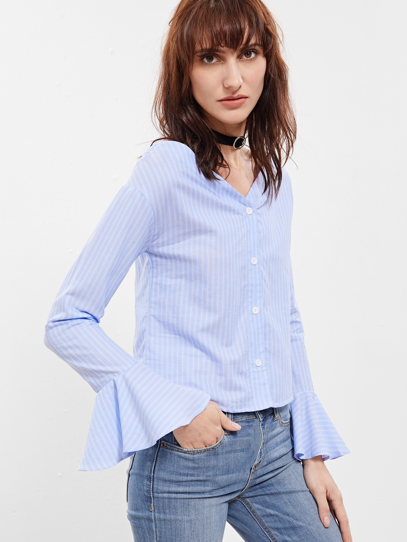 11$  Watch here - http://di6ql.justgood.pw/go.php?t=11115 - Blue Pinstripe V Neck Bell Cuff Blouse