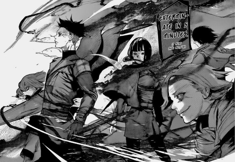 Quinx squad preparing to take down the Aogiri tree during the Rushima Landing Operation