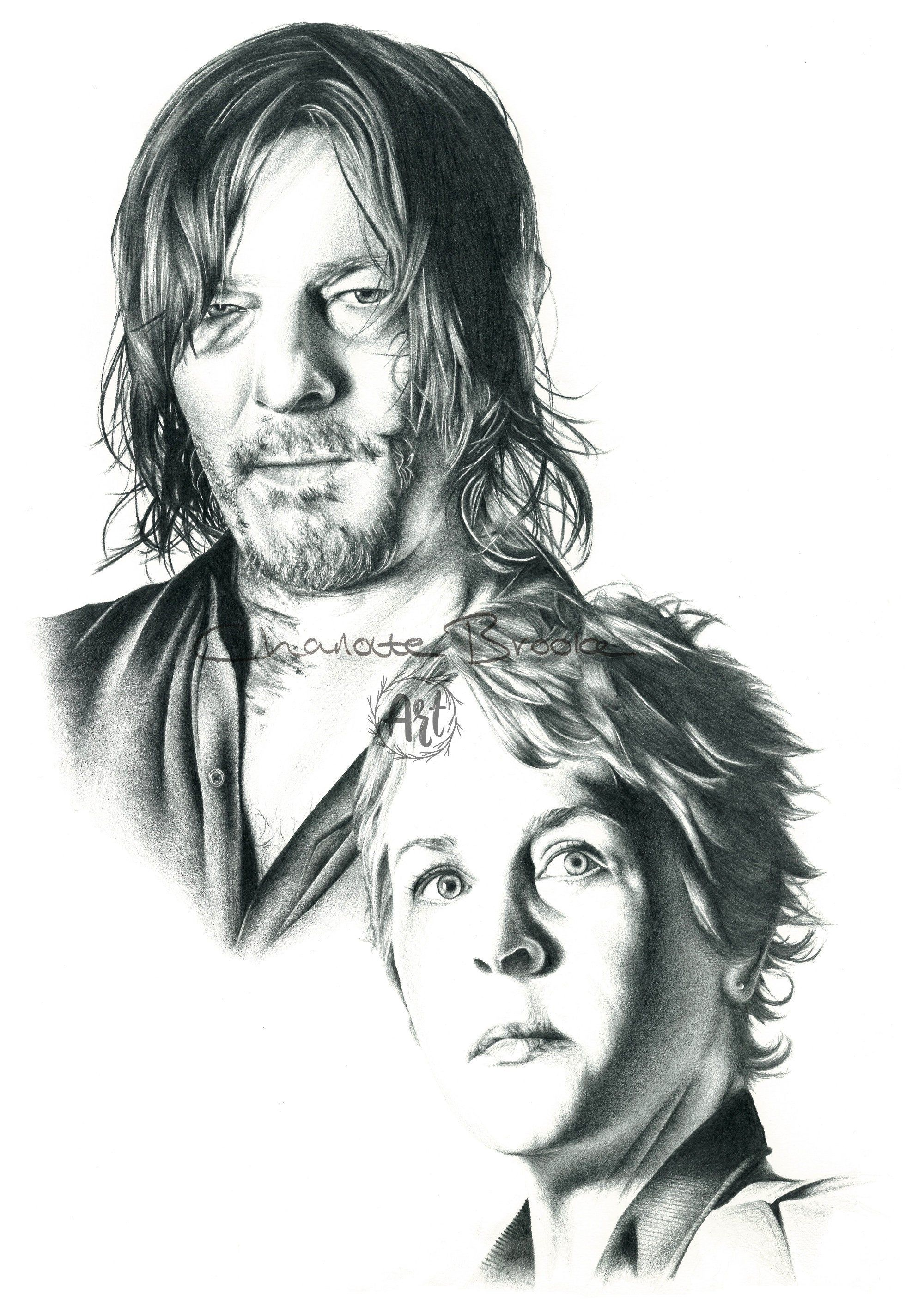 Daryl and Carol The Walking Dead Pencil Portrait Drawing