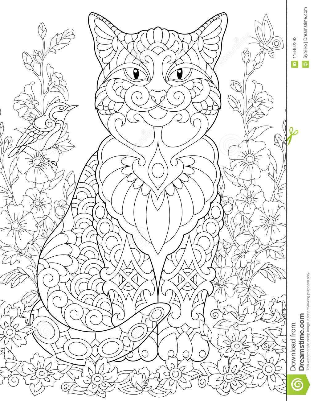 Zentangle spring cat stock vector. Illustration of floral ...