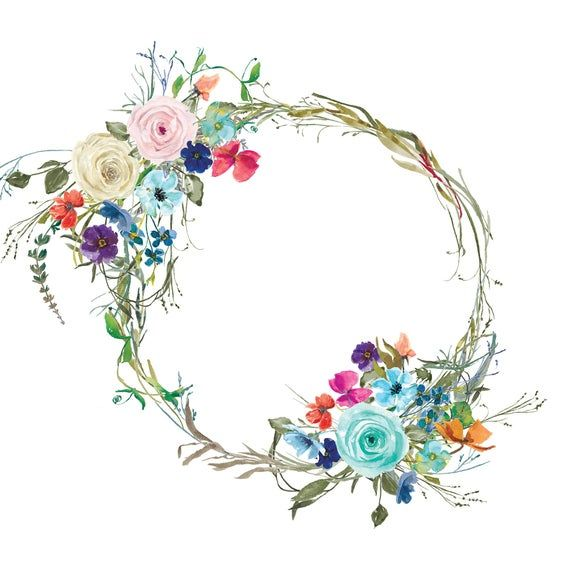 Pastel Roses Tiny Flowers Wreath Colorful Floral Wreath ...