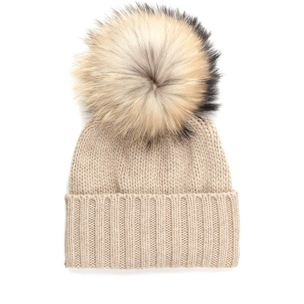 982dddfd5cf9db Inverni Beige Cashmere Pom Pom Beanie ($135) ❤ liked on Polyvore featuring  accessories, hats, beige, ski beanie, cashmere beanie hat, inverni hats, ...