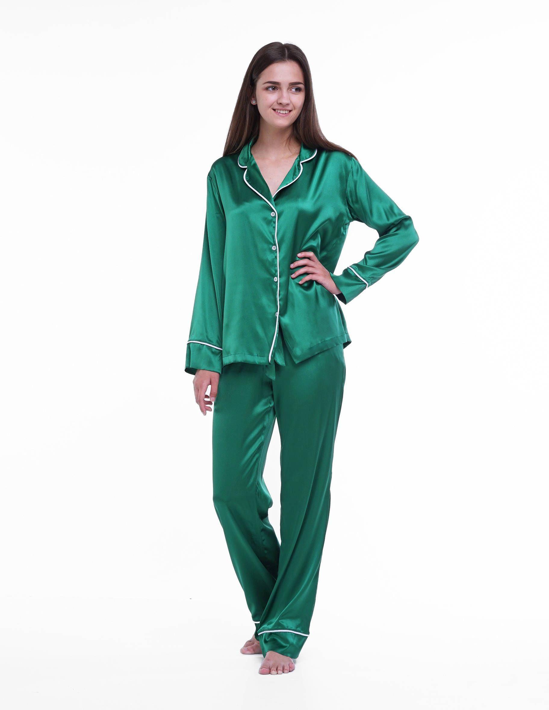 8314b27fd2 Emerald Green Silk Pajamas by Serenity  silkpajamas