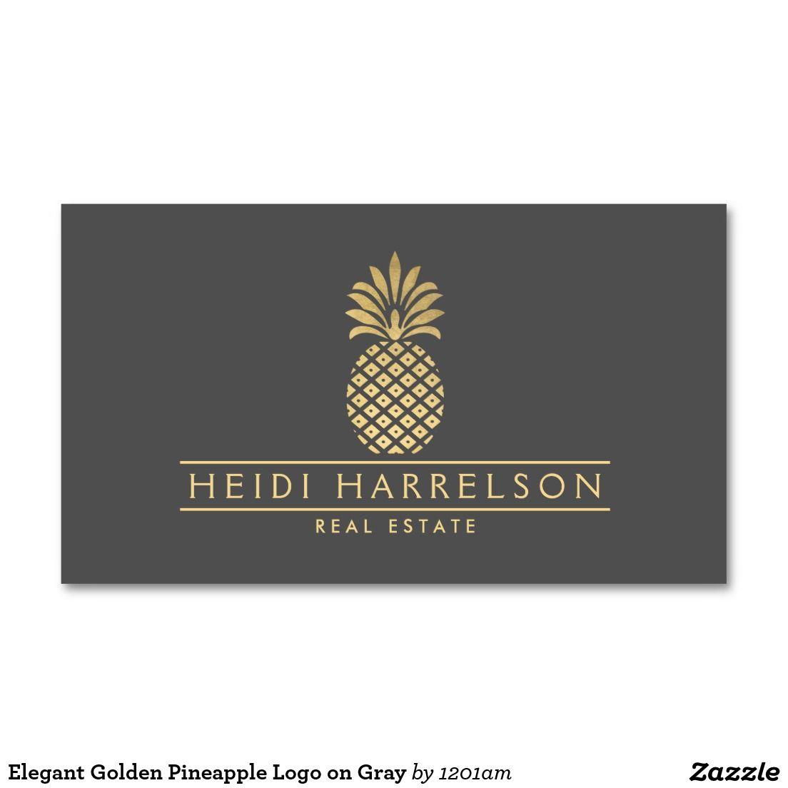 Elegant golden pineapple logo on gray business card airbnb host elegant golden pineapple logo on gray business cards for real estate agent interior designer hospitality airbnb hosts and more colourmoves