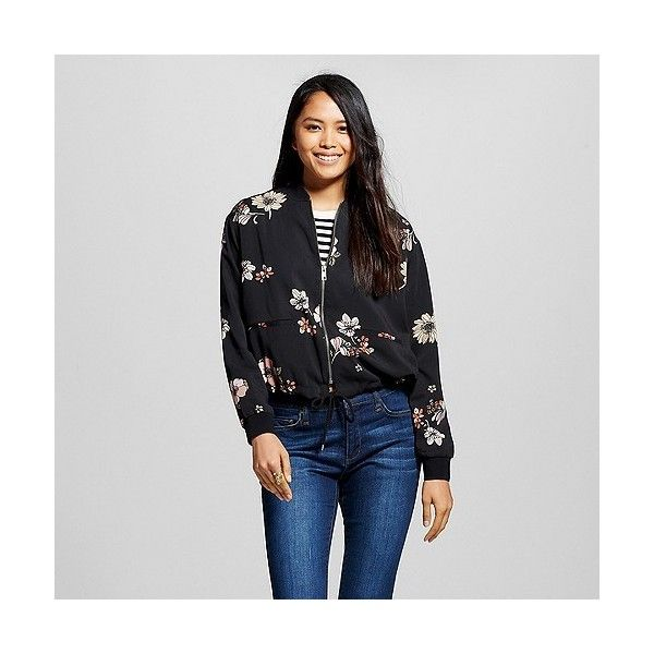 Women's Bomber Jacket Black Floral ($35) ❤ liked on Polyvore featuring outerwear, jackets, black floral and who what wear