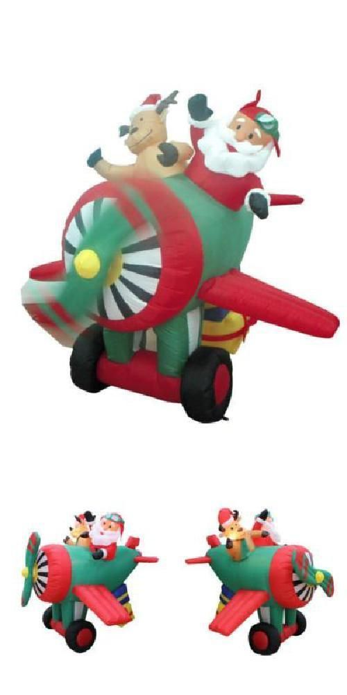 Xmas Inflatable Santa Claus Reindeer Helicopter Yard Decoration 6 - inflatable christmas yard decorations