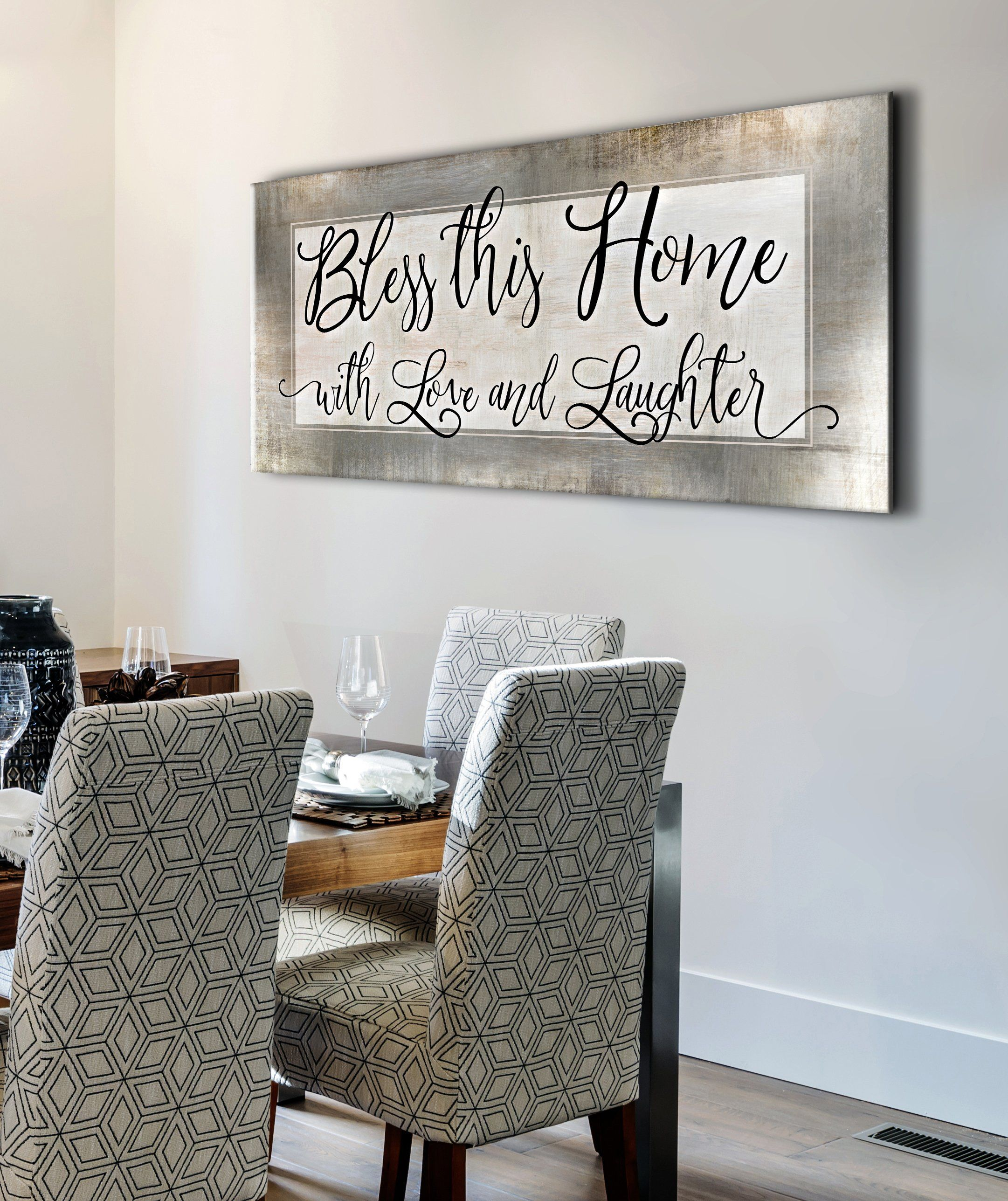 Christian Wall Art: Bless This Home With Love (Wood Frame Ready To Hang)