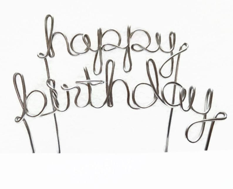 Happy Birthday Wire Cake Topper- Silver, Brown, Gold