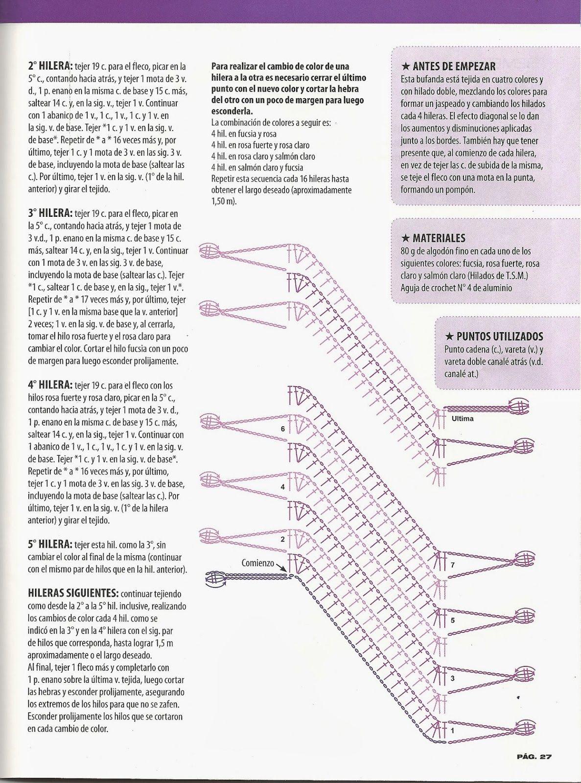 Patrones Crochet: Bufanda Chalina 4 colores Instrucciones | Crochet ...