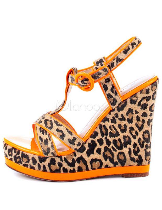 T-Strap Leopard Print Wedge Shoes