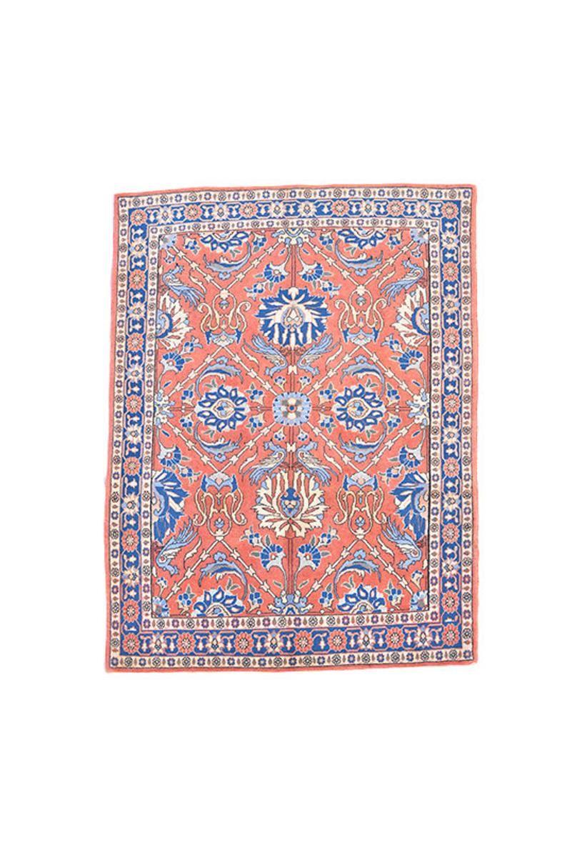 Orange Blue Vintage Turkish Rug Bohemian Floral Rug 3 X 5 Etsy In 2020 Persian Style Rug Floral Rug Vintage Turkish Rugs