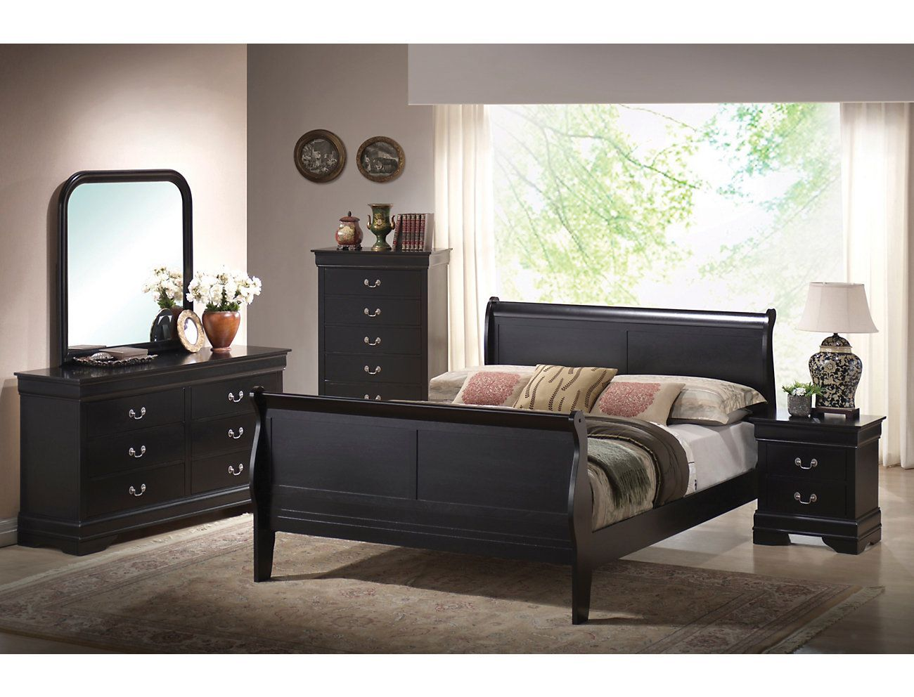 Philippe 3 Piece Queen Bedroom Set, Black | Outlet at Art ...
