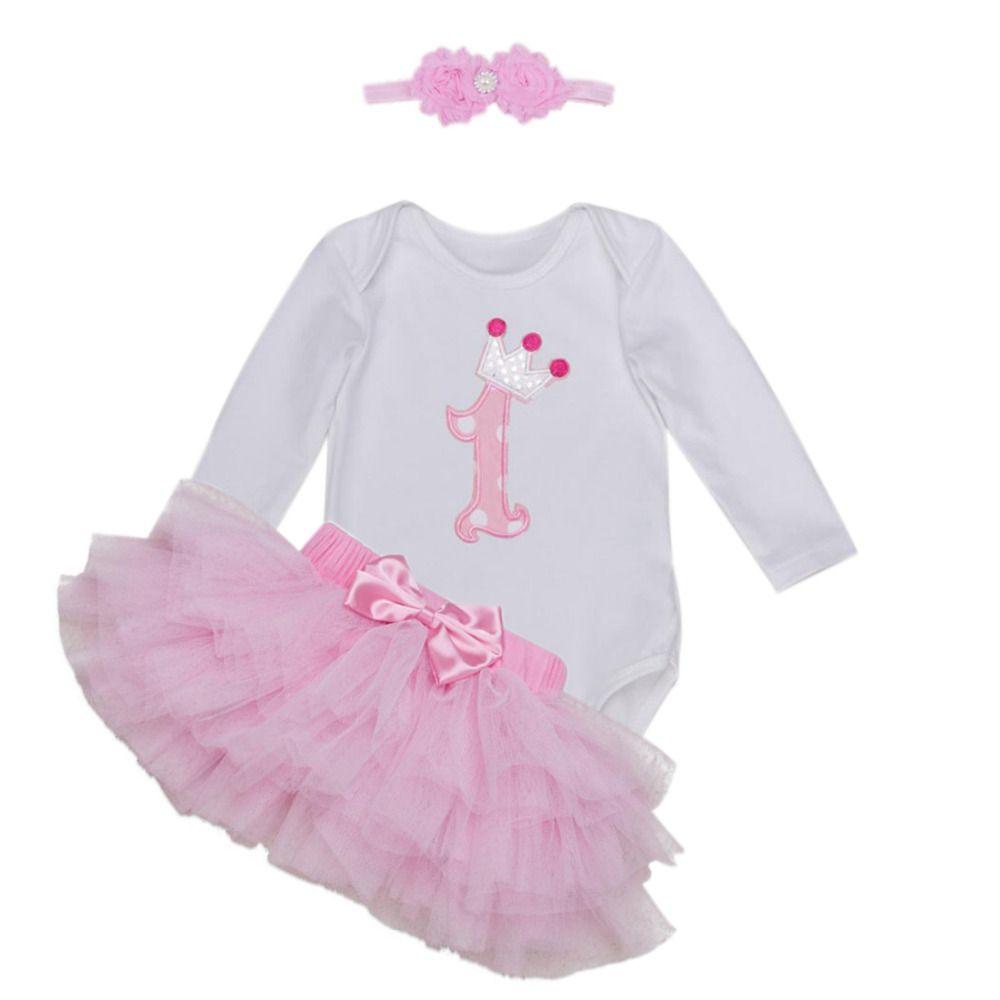 cfb674992aec 3PCs per Set White Pink Long Sleeves Baby Girl 1st Birthday Tutu ...