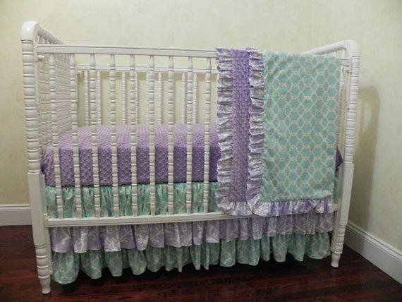 Perless Crib Bedding Baby Lavender Aqua