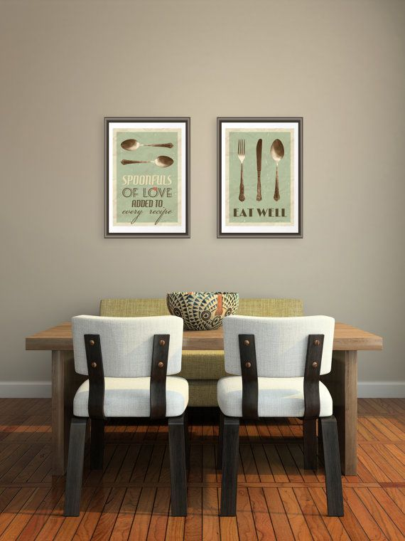 Kitchen Art Set From Two Spoon Fork Knife Poster Prints Kitchen Quotes Home Decor On Etsy 33 00 Home Decor Decor Kitchen Art Set