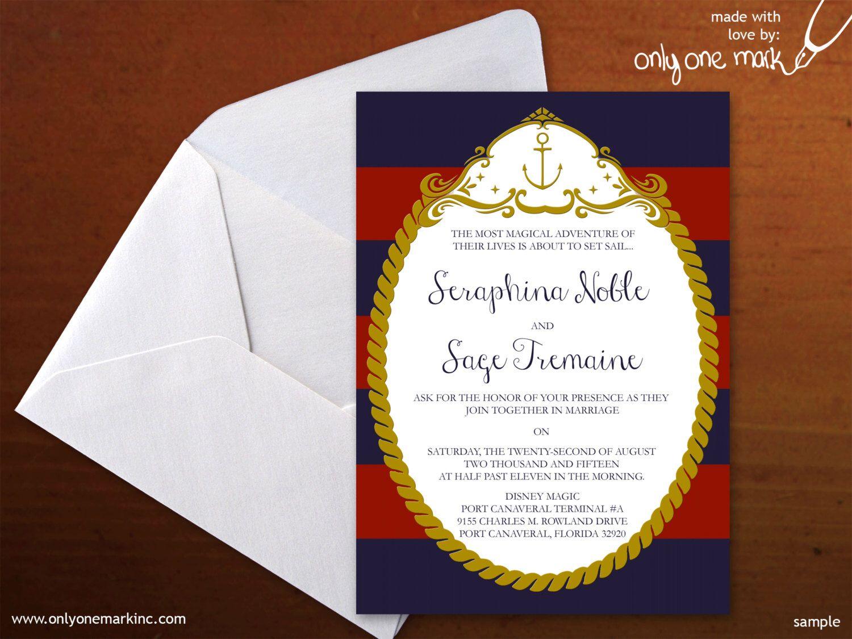 Nautical Disney Cruise Line Inspired Wedding Invitation - Bridal ...