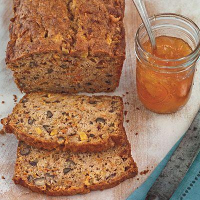 Spiced peach carrot-bread