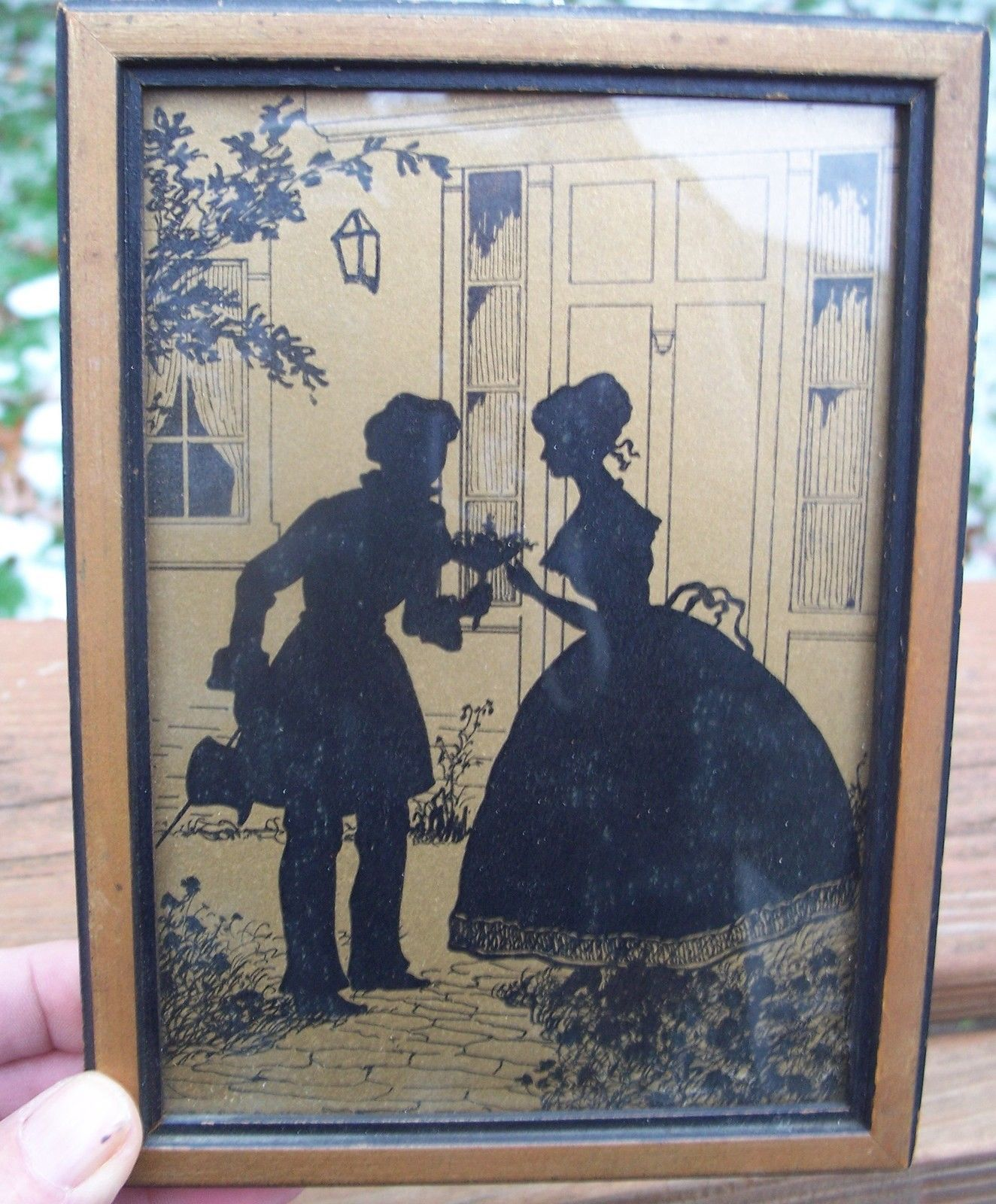 Vintage reverse silhouette picture 5x7 wood frames glass young vintage reverse silhouette picture 5x7 wood frames glass young love ebay jeuxipadfo Image collections