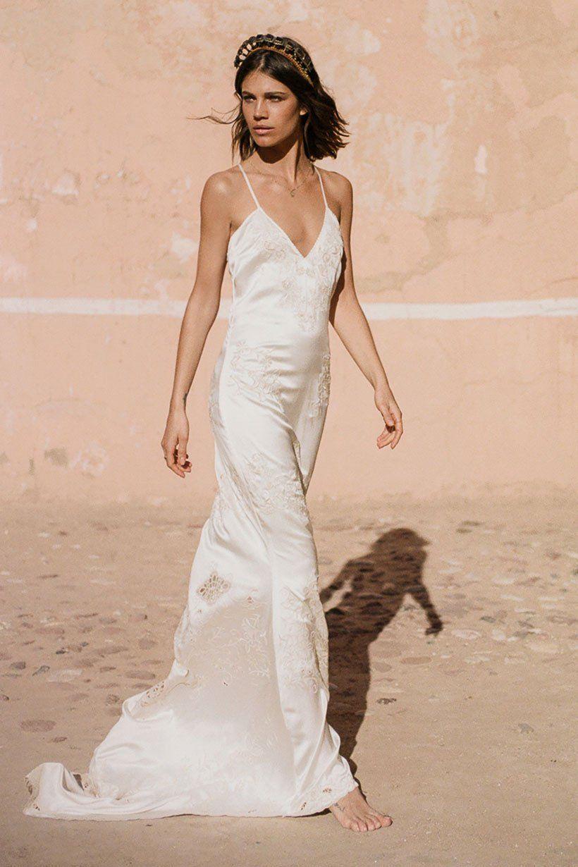 Mila De Wit Bourke Wears Spell Designs Odette Slip Dress Slip Wedding Dress Minimal Wedding Dress Wedding Dresses Unique