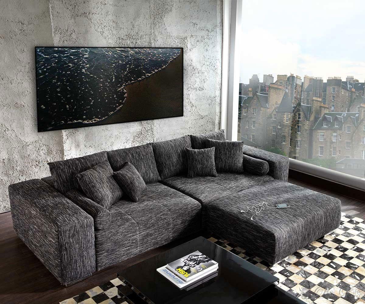 Brilliant Big Sofa Xxl Ideen Von Marbeya 290x110 Schwarz Mit Hocker