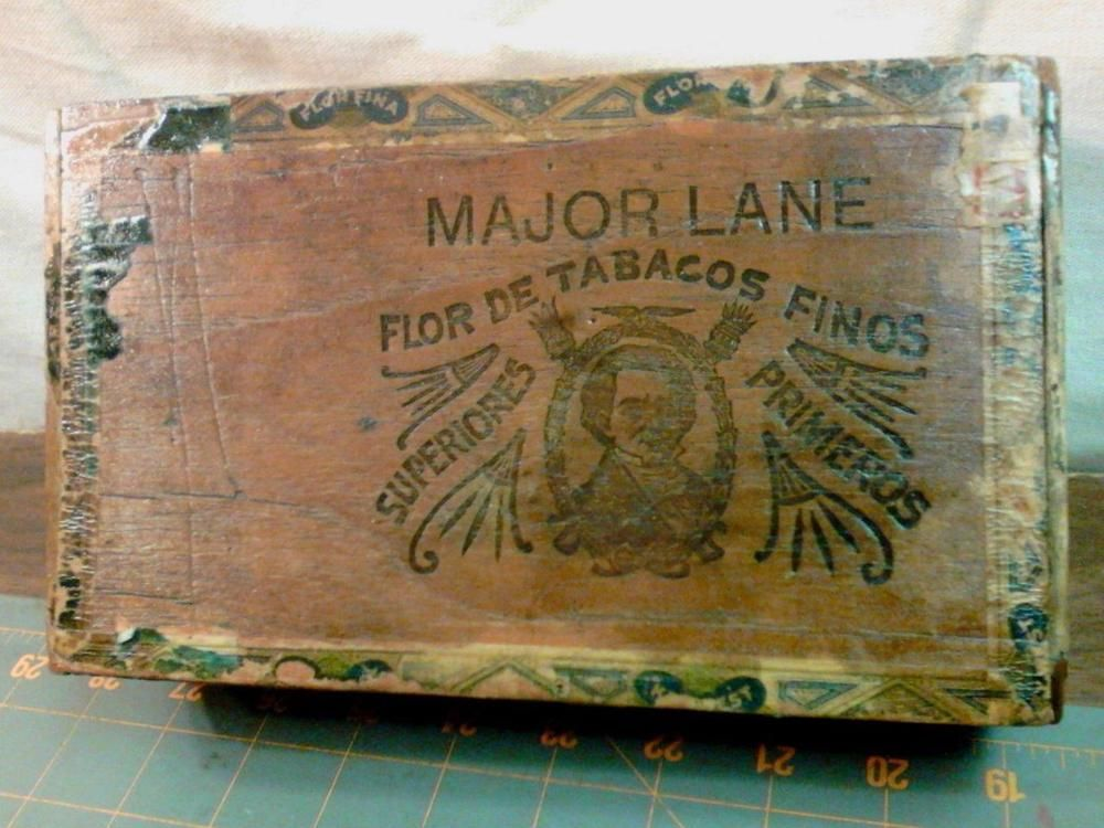 Vintage Major Lane Primeros Wood Cigar Box Mt Vernon Ohio W