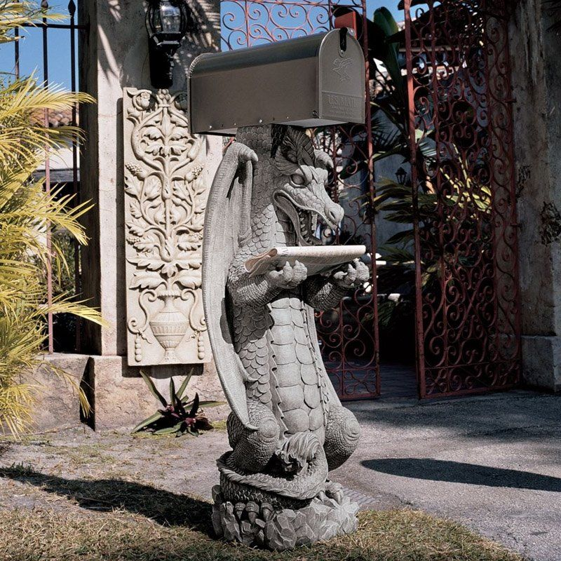 Design Toscano Zippy The Dragon Garden Statue Mail Post