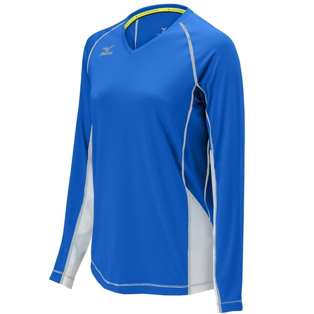 Mizuno Women S Elite 9 Classic Newport Long Sleeve Volleyball Jersey Size Extra Extra Large In Color Royal W Long Sleeve Street Style Women Volleyball Jerseys