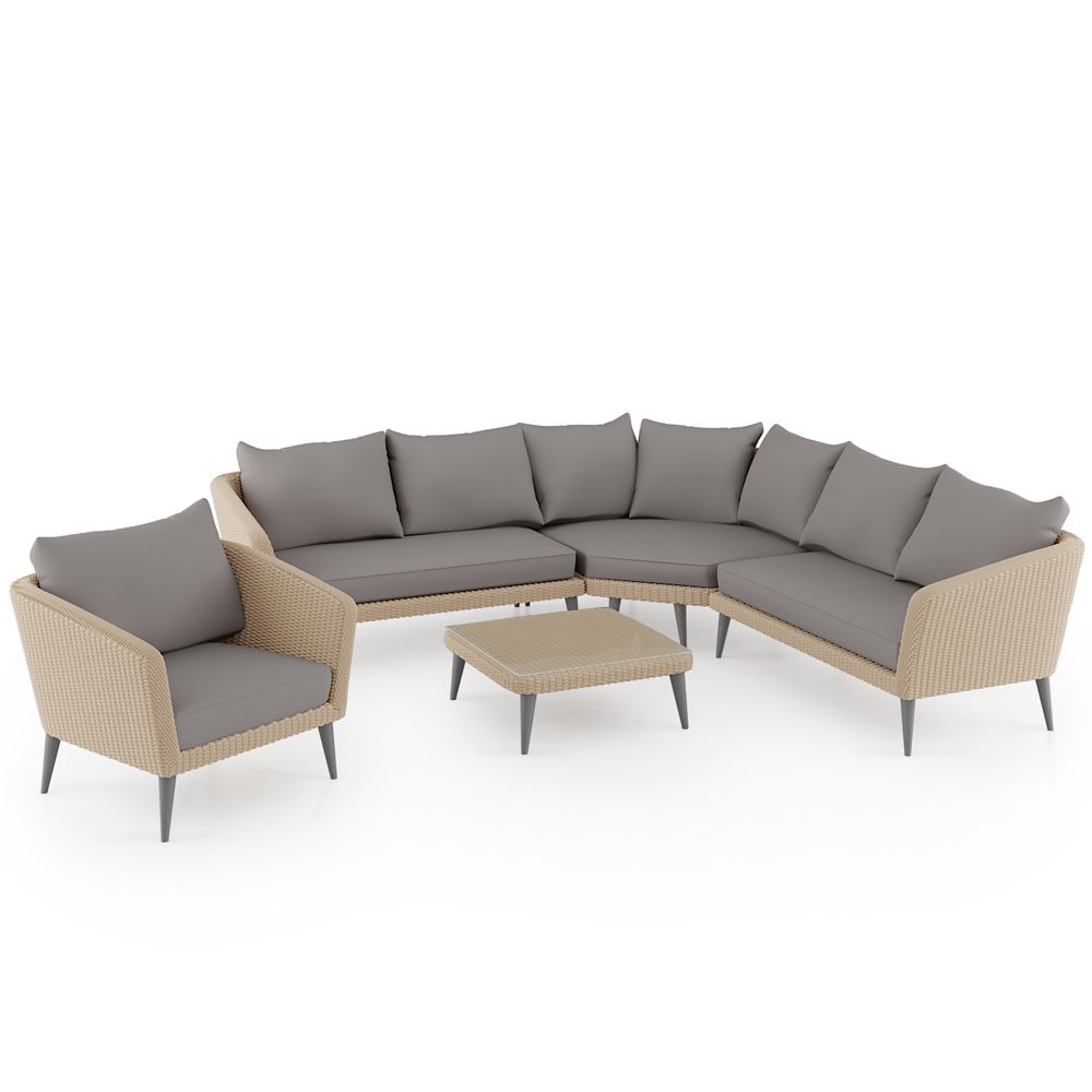 Best Buy Luxo Matica 5Pc Pe Wicker Outdoor Sofa Set W Coffee 400 x 300