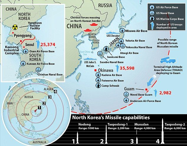 The Moment Of Explosion Is Near North Korean Madmans New - Map of us missile defense systems