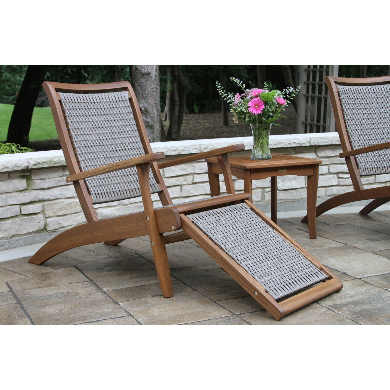 Vineyard Outdoor Lounge Chair with BuiltIn Ottoman
