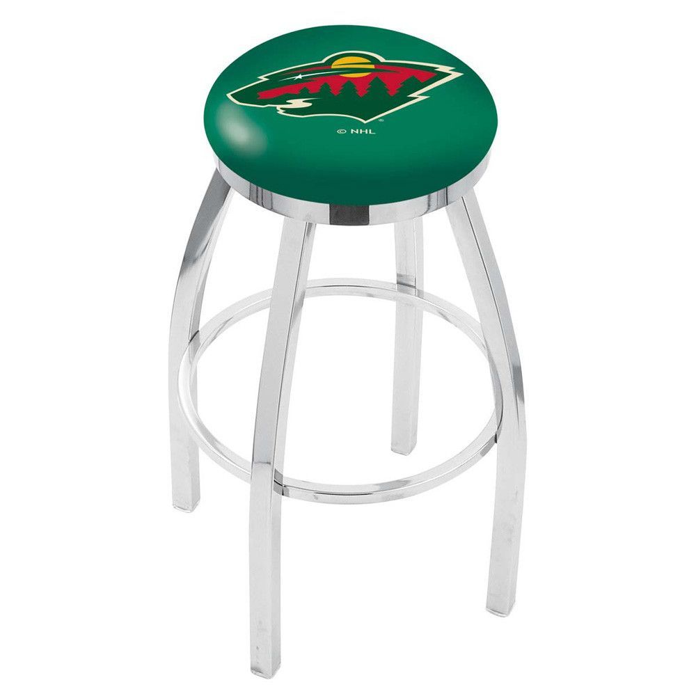 Minnesota Wild Chrome Single Rung Swivel Barstool
