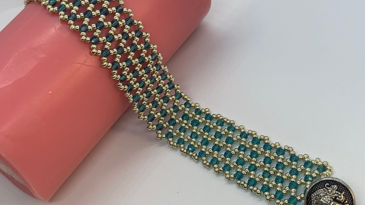 Photo of Netted Beaded Bracelet with Crystals 💎 #beadedbracelet