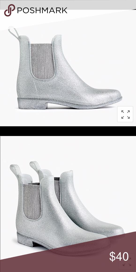 Jcrew glitter Chelsea rain boots