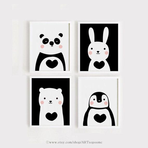 Niedliche Tiere, KinderzimmerSet 4 Kunstdruck Kunst