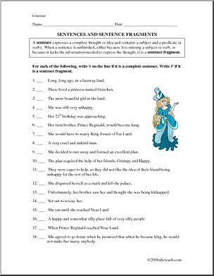 Worksheet Grammar Sentences Upper Elementary This Fairy