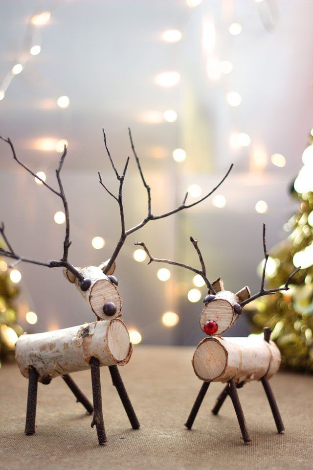 A reindeer decoration made from birch branches