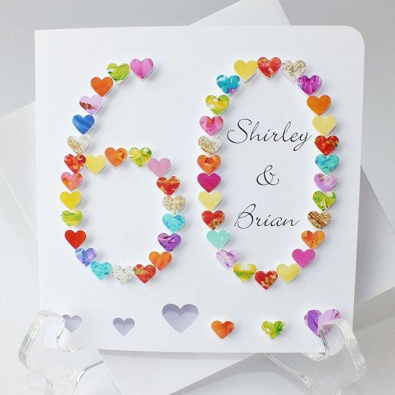 Beautiful 60th Wedding Anniversary Card Making Ideas Part - 12: Handmade 3D 60th Wedding Anniversary Card - 60th Anniversary, Sixtieth Card,  60 Diamond Wedding