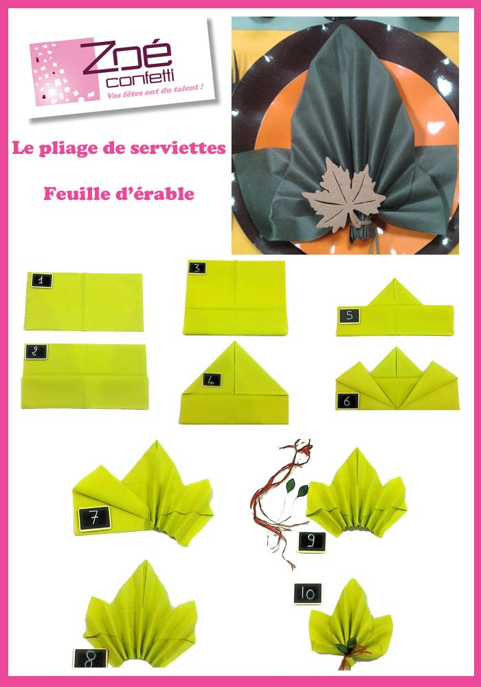 idee pliage serviette feuille d automne servetten pinterest pliage pliage serviette et. Black Bedroom Furniture Sets. Home Design Ideas
