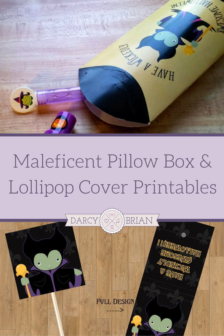 Maleficent lollipop covers and pillow box printables for halloween
