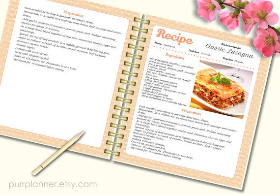 recipe template cook book doc pdf pattern editable recipe pages