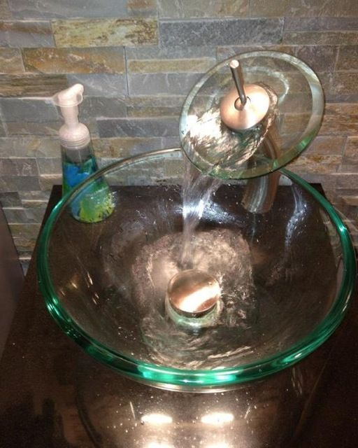 Waterfall Faucet And Clear Glass Vessel Sink   Faucet @ $100 Sink $75.00