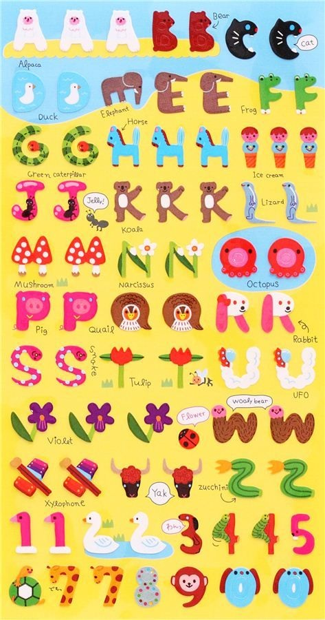 pegatinas alfabeto animal planta abc letras abecedario japn