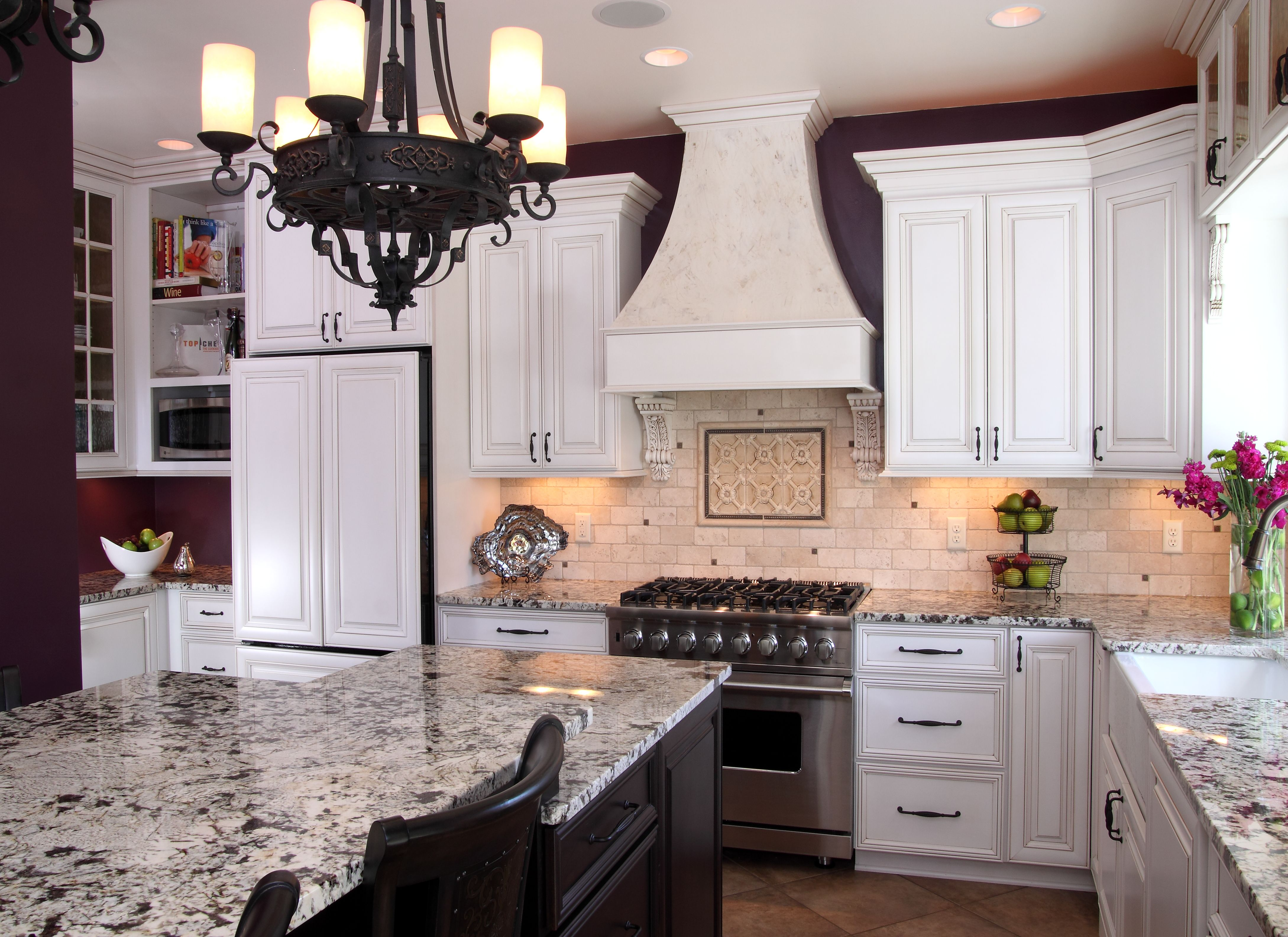 White painted & glazed perimeter cabinets, cherry island with custom ...