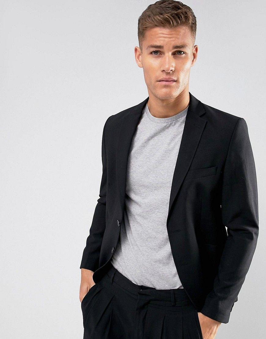 ASOS Slim Suit Jacket In Black Lightweight Crepe - Black ...